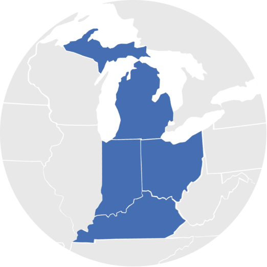 Map of midwest United States highlighting Michigan, Indiana, Ohio, and Kentucky.